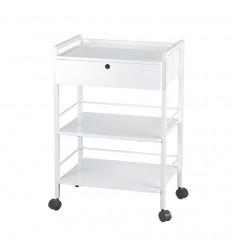 "Guéridon ""Easy"" blanc à structure métallique"