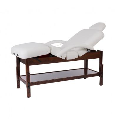 """Table de Soins fixe en bois couleur wengé à 4 plans """"BRACHI"""""""
